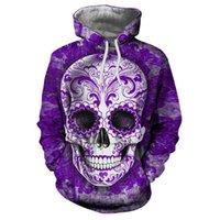 ingrosso hoodie viola 3d-Cloudstyle Purple 3D Felpa con cappuccio da uomo Skull Printed Pullover Harajuku Funny Streetwear Felpe sottili Felpa con cappuccio da uomo Tuta Moda