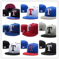 Wholesale cool top hats - Cool Hot Rangers blue top gray brim Fitted Flat Hats white T Letter Embroidered Closed Size Caps in Baseball hat Hip Hop Design One Piece
