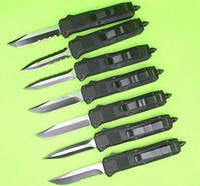 черные ножи бабочки оптовых-Butterfly C07 Mini двойного действия Авто ножи из нержавеющей стали 440C Черный клинок Карманный нож с нейлоновой оболочкой и коробкой A07 616 A161