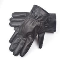 gants de conduite en cuir d'hiver hommes achat en gros de-Mitaines Hiver Chaud Gants De Conduite En Cuir Gants Écran Tactile Gants Confortables Pour Hommes Femme moto moto gant