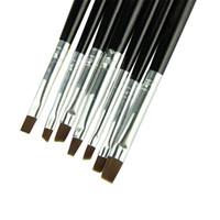 ingrosso stampa acrilica uv-7pcs Pennino per unghie professionale Pennello per unghie in acrilico Kit Set Pennello per gel UV art Pennello per trucco Strumenti per cosmetici