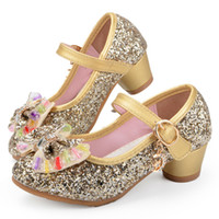 Wholesale green kids party shoes resale online - Hot Butterfly Children Princess Shoes Girls Bowtie Candy Color Hight Heels Slip On Party Dance Sandals For Baby Girls Kids