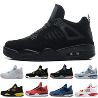 Wholesale military cut online - 4 s Mens Basketball Shoes White Cement Pure Money Black Cat Bred Oreo Fear Pack Royalty Toro Bravo Angry bull Military Blue Sports Sneakers