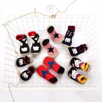 socken schuhe kleinkind gummi großhandel-Neugeborenen Baumwolle Infant Junge Mädchen Socken Anti Slip Baby Socken Mit Gummisohlen Für Kinder Kleinkind Schuhe Erste Wanderer LYD001