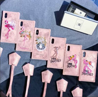 Wholesale Tiger Leather Case - Luxury Embroidery Pink Panther tiger leopard cute leather case neck strap cover skin for iPhone 6 6Plus 7 7Plus 8 8Plus iPhone X