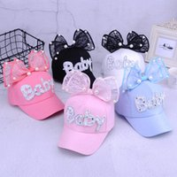 Wholesale pearls baseball cap - 10 styles cute summer baby rabbit ears sun hat newborn adjustable net hats baby big bow baseball cap with pearl decor