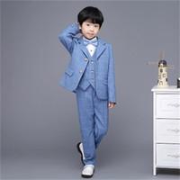 trajes de bebé azul bodas al por mayor-Nueva moda azul Plaid bebé niños traje niños blazers chico traje para bodas prom formal primavera otoño vestido de boda trajes de niño