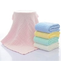 Wholesale unisex receiving blankets - 5 Colors 105cm*105cm Newborn Cotton Hold Wrap Infant Muslin Blankets Baby 6 Layers Gauze Bath Towel Swaddle Receiving Blankets CCA8819 30pcs
