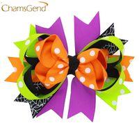 diseño de horquilla para niños al por mayor-Diseño colorido pinzas para el cabello con lazo grande pinzas para el cabello de fiesta de halloween para niños niños niñas accesorios para el cabello 160802 drop 20pcs regalo