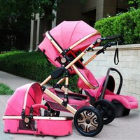 Wholesale high baby strollers - Luxury Baby Stroller 3 in 1 High Landscape Pram foldable pushchair gift