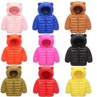 Wholesale girls cute down jackets resale online - Kids Down Coat Winter Hooded Outerwear Boy Girl Long Sleeve Down Jacket Cute Ear Designer Clothes Children Solid Warm Overcoat YFA564