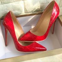 tatuajes de las mujeres al por mayor-2018 cocodrilo rojo tatuado tacones altos 12 cm superficial delgado piedra tatuada zapatos de salón de baile de las mujeres con estilo sexy rojo zapatos de boda