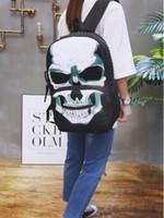 Wholesale skeleton table - omen's Men Skull Head Backpack Skeleton Synthetic Laptop School Bag Printed backpack individuality skeleton bag BBA94