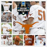 Wholesale andrew shaw jersey - NCAA Texas Longhorns #4 Tate Shaw 5 Ryan Reynolds 51 Jake McKenzie Clemens 2018 CWS College Baseball White Orange Gray Cream Jersey S-4XL