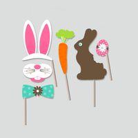 faire le lapin de pâques achat en gros de-Fabriqué À La Main Drôle Masque Jolie Partie De Mariage Décorations Fournitures Pour Lapin De Pâques Chick Lapin Oeuf Photo Booth Props 10jd B