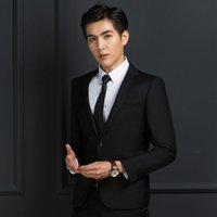 vestido de poliéster viscosa al por mayor-Trajes de hombre de negocios nuevos Conjunto de botón trasero delgado 35% viscosa 65% de poliéster Blazers para hombre traje de pantalones coreanos S / M / L / XL / XXL / XXXL