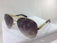 piloto sunglasse al por mayor-Hombres Attitude Pilot Gafas de sol Gold Gray Len Vintage Sunglass Hombres designer sunglasse Gafas de sol Fashion gafa de sol Out Glasses New With Box