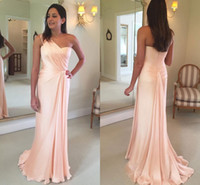 Wholesale nude chiffon one shoulder dress resale online - Candy Pink Sexy One Shoulder Sheath Prom Dresses New Cheap Ruffles Floor Length Chiffon Long Evening Party Wear Bridesmaid Dresses