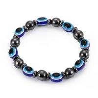 schwarze männer schmuck großhandel-2018 energie magnetische hämatit blau bösen blick armband frauen macht gesunde schwarz gallstone perlen ketten armreif für männer