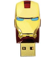 16gb flash-laufwerk reale kapazität großhandel-64 GB 32 GB 16 GB 8 GB echte Kapazität LED Iron Man Kopf USB 2.0 USB-Flash-Laufwerk Stift Grade A Drives Memory Stick für iOS Windows Android