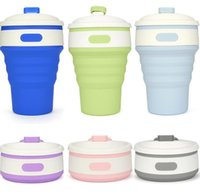 Wholesale retractable folding cup - Portable Silicone Retractable Folding Cup 6 Colors Outdoor Telescopic Collapsible Folding Tumblerful Cups 350ML Folding Water Cup EEA308