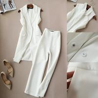 pantalones anchos coreanos al por mayor-Moda primavera nueva versión coreana del chaleco dos conjuntos de marea párrafo chaleco pantalón ancho traje nueve pantalones otoño Set Mujeres