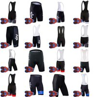 Wholesale team sky cycling bib shorts - Brand New Team SKY Cycling Clothing For Men Cycling Cycling Bib Shorts 9D gel pad ropa ciclismo hombre D1143