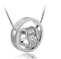 cristal austriaco joyas corazón al por mayor-18K oro blanco plateado joyería cristal austriaco colgante corazón círculo collar para mujer hecho con elementos de Swarovski collares a granel para la venta