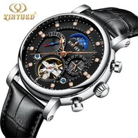 Wholesale Moon Cases - KINYUED Fashion Series Design Moon phase Silver Case Mens Watches Top Brand Luxury Tourbillion Diamond Display Automatic Watch