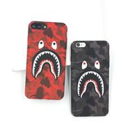 estuche rígido de pc al por mayor-Para iPhone X Caja del teléfono Moda Camuflaje Boca de tiburón Patrón Mate Casos de PC dura para iPhone 7 8 6 6 s más cubierta