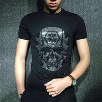 Wholesale plus size clothing skulls - Men T Shirt Mens Designer T Shirts Mens Clothing Summer Casual Shirts for Men Street Wear Crew Neck Skull Short Sleeve Plus Size M XL