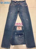 Wholesale Cheap Army Pants - Wholesale True Robin Fashion Men Casual Jeans Denim Straight Pants Cheap Price High Quality Mens White Jeans