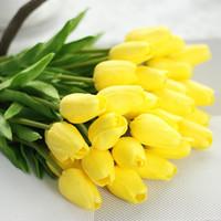mini tulipas artificiais venda por atacado-10 cores Simulação Mini Tulipa PU Casa de Casamento Flores Artificiais Dia Dos Namorados Festa de Natal Decorativa Flor Falsa