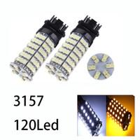 3157 glühbirne weiß großhandel-Autolichter 120SMD T25 / 3157/1157/7443 Weiß / Bernsteingelb Zweifarbige LED-Blinker Autolampen
