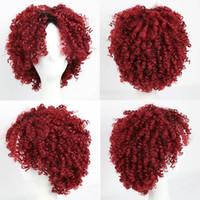 erkek sentetik peruk siyah toptan satış-Koyu Kırmızı Sentetik Saç Peruk Kısa Afro Kinky Kıvırcık Saç Peruk Siyah Kadınlar için Erkekler için Afro-amerikan Peruk Peruk Kap Kap ...