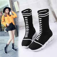 Wholesale black half socks - The shoes of new luxury women in 2018.Spring European leg boots.Female pine cake bottom fashionable socks shoes female tide.T351