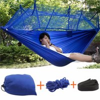 Wholesale Lightweight Hammock - Strength Fabric Mosquito Net Portable Extra High Camping Hammock Lightweight Hanging Bed Durable Packable Travel Bed(3 Color))
