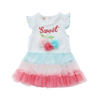шифон платье для малышей оптовых-Cute Newborn Bodysuit Dress Baby Girls Chiffon Flower Jumpsuits Clothes Princess Fashion Toddler Outfits Tutu Dress Clothes