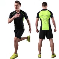 Wholesale Tight Shirts Sport For Men - 2 Pieces Mens Sports Suits Running Clothes for Men Sport Short +Compression Tights T-shirt Gym Fitness Cropped Quick Dry Sets