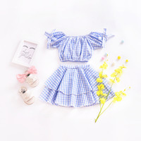 Wholesale blue dress suit kids - Kids Clothing Set Blue Plaid Dress Baby Clothes for Girls Outfits Toddler Fashion Tshirt Skirt Children Suits