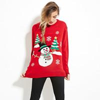 computer-themen großhandel-Neuer Herbstwinter strickte Strickjackenfrauen Weihnachtsthema niedlichen Schneemann- und hässlichen Strickjackenpulloverfrauen des Weihnachtsbaums