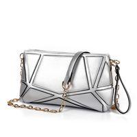 Wholesale Dressing Cube - Fashion Stitching Ladies Handbag Metal Chains Shoulder Bag Women Water Cube Single Shoulder Bag Metallic Envelope Clutch Bag