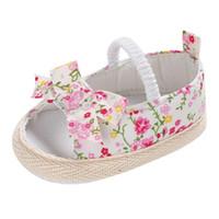 bebek patik tığ çiçek toptan satış-2018 yeni Yaz Rahat Bebek Ayakkabıları Pamuk Kumaş Nefes Çiçek Baskı Çocuk İlk Walkers Çocuk Ayakkabıları