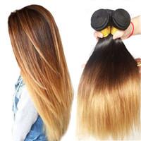 ombre düz remy saç toptan satış-Brezilyalı Düz Saç Demetleri T1B / 4/27 Ombre İnsan Saç Örgüleri 3 Parça 8-30 Inç 3 Ton Olmayan Remy Saç Uzantıları Ücretsiz Nakliye