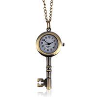 Wholesale key watch necklace for sale - Group buy Chic Key Love Classic Fashion Quartz Pocket Watch Pendant Necklace Gift