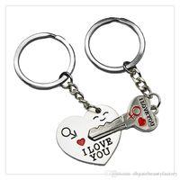 kalpler anahtarlıkları seviyor toptan satış-Moda Takı KeyChains Cupid Ok Aşk Hediye Anahtarlıklar Düğün Malzemeleri Doğum Günü Hediyesi Hediye Seni SEVIYORUM Kalp Anahtarlık DHL