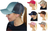 Wholesale Carnival Hats Wholesale - CC Glitter Ponytail Baseball Caps Summer Women Mesh Solid Visor Cap Hip Hop Girl Peaked Cap Stylish Sports Sun Helmet Hats POP
