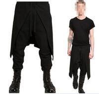 черная повязка на ногах оптовых-Adult Men Medieval Renaissance Lounge Loose Pants Viking Black Brown Navigator Leg Bandage Trouser Pirate Horseman Costume sexy
