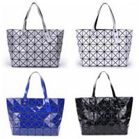 Wholesale Handbag Mirror Silver - Women Tote Fold Geometic Handbag Laser Geometric Hand Bags Sequins Mirror Saser Plain Folding Handbags Shoulder Bags LJJO4540