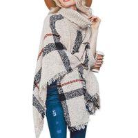 batwing turtleneck pullover großhandel-2018 Pullover Weibliche Mittellange, Lange Kragen Fransen Umhang Schal Lose Große Größe Strickwaren Rollkragen